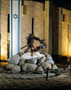 A memorial monument for the fallen of the War of Independence designed, by David Palombo. It was designed with the inspiration of the biblical Burning Bush (Exodus 3, 2) and built using a technique of fusion between iron pieces.