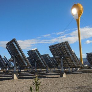 Israeli company AORA has constructed the world's first gas turbine solar thermal power station in the desert near eliat and has now built another demo power plant in Spain. The small-scale system uses giant yellow tulip-shaped solar receivers fitted with 100-kilowatt gas turbines, which heat air to about 1,000 degrees Celsius using the sun's energy, directing the heated air to a turbine that then converts thermal energy to electric energy.
