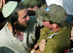 Settlers and soldiers weeping together.