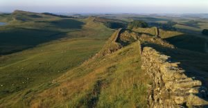 Running 73 miles from coast to coast, Hadrian's Wall protected the province of Britain from barbarian invaders to the north. Roman soldiers began construction in AD 122.